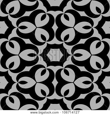 Abstract floral black white seamless pattern