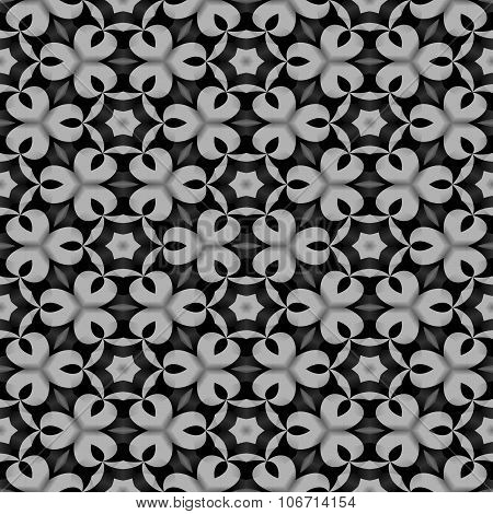 Abstract floral black white monochrome seamless pattern