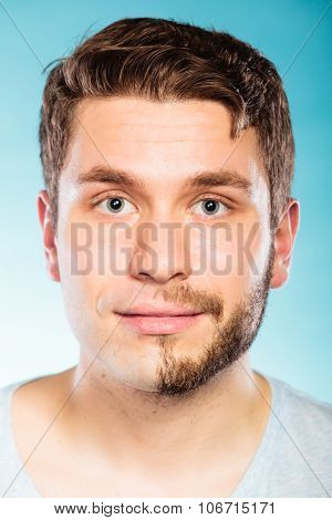 Young Man With Half Shaved Face Beard Hair.