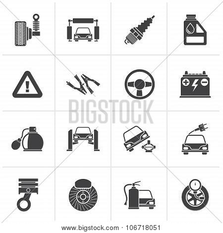 Black Car and road services icons