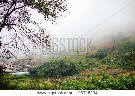 Countryside In Thailand With Misty Fog