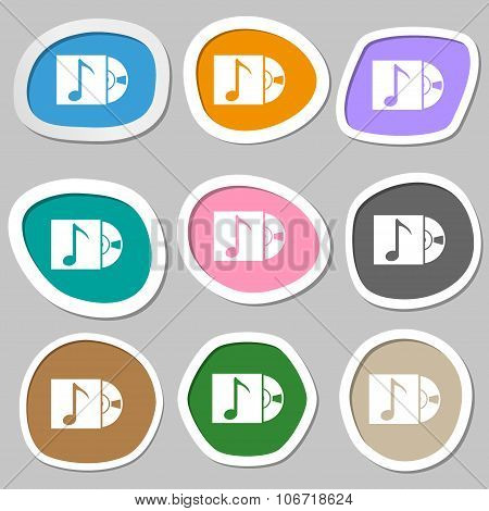 Cd Player Icon Sign. Multicolored Paper Stickers. Vector