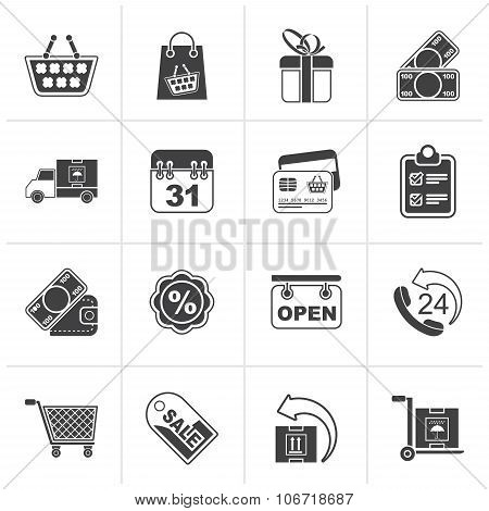 Black Online shop icons
