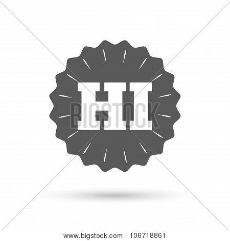 Hindi language sign icon. HI India translation