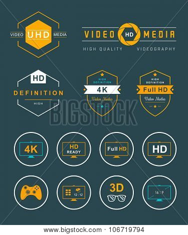 Set Icons And Badges Tv And Video