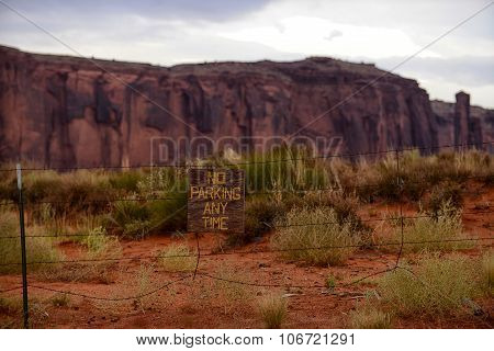 No Parking Sign In Monument Valley