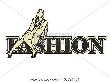 Fashion model sitting on letters