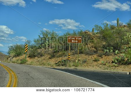 scenic view sign off of road in arizona on a curvy road
