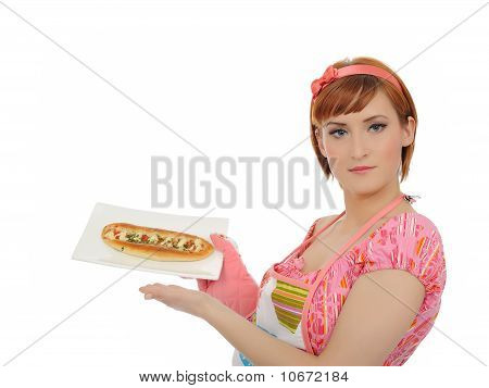 Beautiful Cooking Woman In Apron With Italian Sandwich. Isolated On White Background