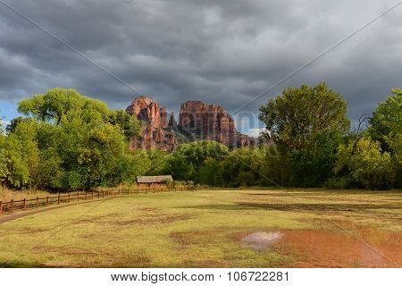 Puddle At Cathedral Rock Park After A Rainstorm In Sedona
