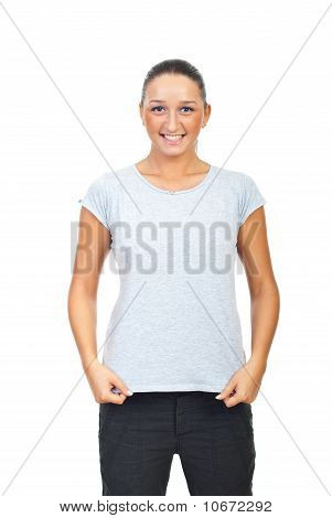 Cute Female In Grey Cotton T-shirt
