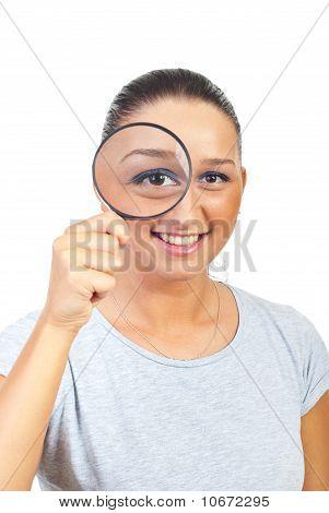 Lupa ojo de mujer