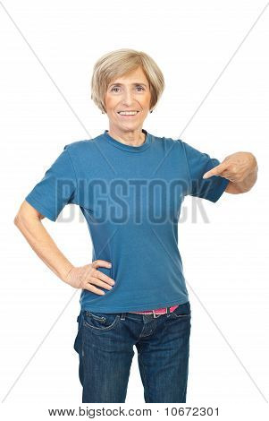 Beauty Senior Woman In Blank T-shirt