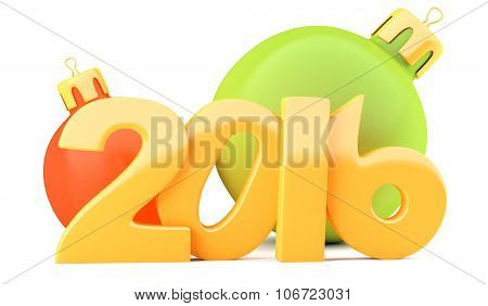 New Year 2016 Digits With Baubles