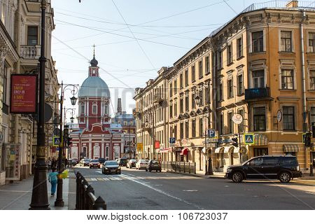 St.PETERSBURG, RUSSIA - CIRCA SEP, 2015: View of the Pestel street in center of SPb. Current name since 1925 (from 1777 was called Panteleymonovskaya street).
