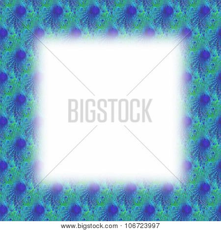 Turquoise blue blurred frame with fractal pattern