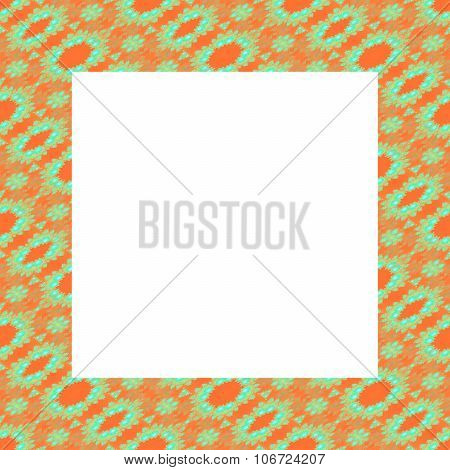 Frame in the shape of a regular square with orange green fractal pattern