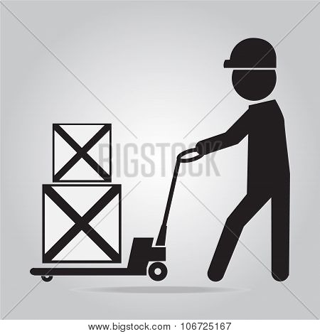 Man With Hand Pallet Jack Lift Sign