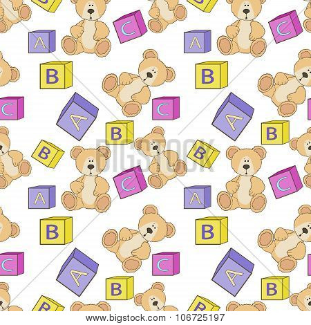 Cute teddy with alphabet toy cubes