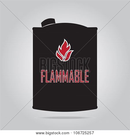 Fuel Container With Flammable Sign