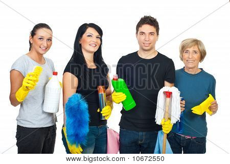 Happy Team Of Cleaning House Workers