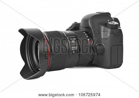 Photo camera isolated on white background