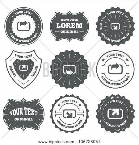 Action icons. Share symbols.
