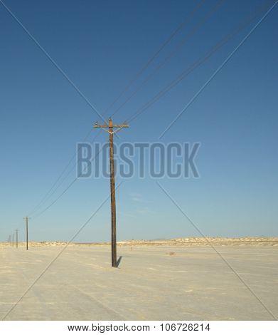 Lines in desert in west Texas