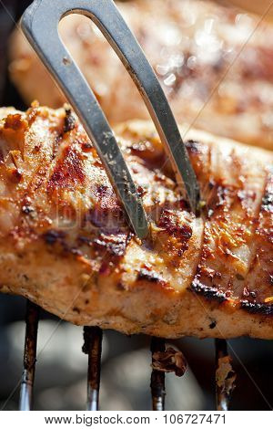 Grilled Chicken Breast On Barbeque