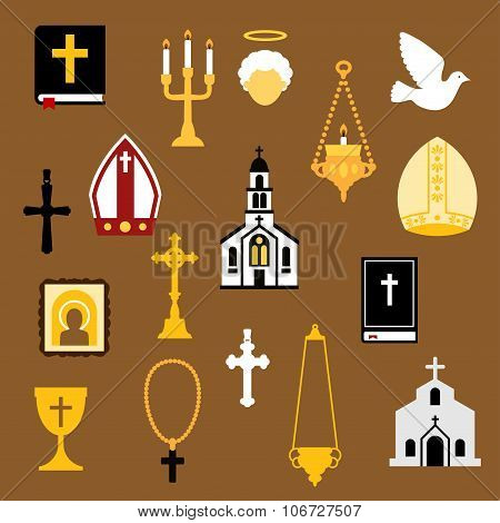 Religious christian and catholic flat icons