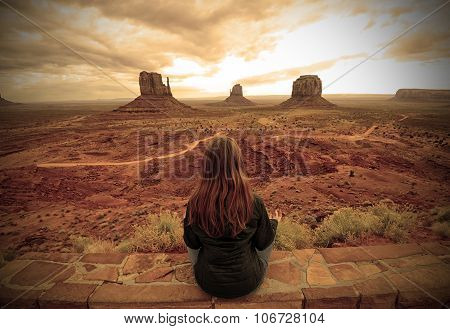 Meditation In The Desert In Monument Valley