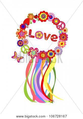 Colorful floral hippie wreath