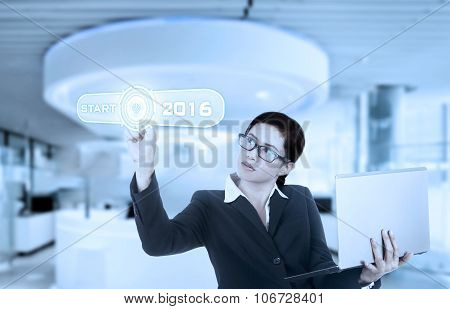 Chinese Woman Pressing Start Button