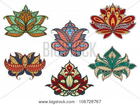 Paisley flowers with indian ethnic ornaments