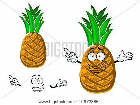 Cartoon tropical yellow pineapple fruit