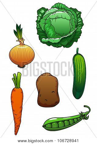 Fresh cartoon healthful isolated vegetables