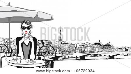 Young woman having breakfast in Paris - Vector illustration
