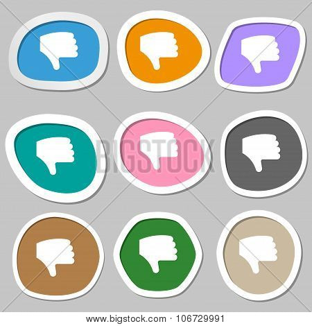 Dislike, Thumb Down, Hand Finger Down  Icon Symbols. Multicolored Paper Stickers. Vector