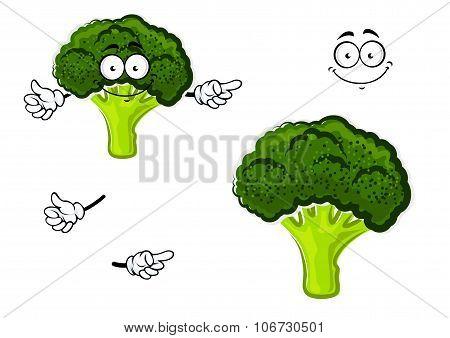 Cartoon broccoli vegetable with green head
