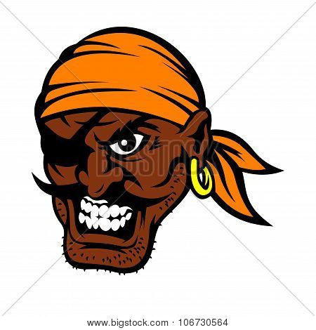 Cartoon black moustached pirate character