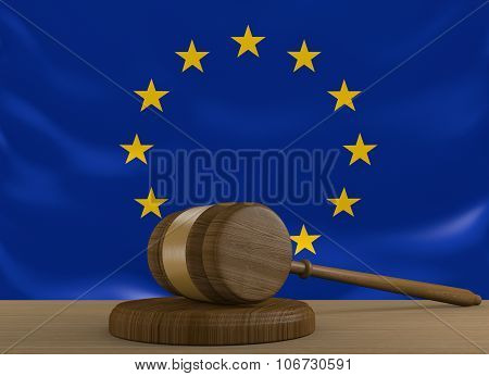 European Union law and justice system with EU flag