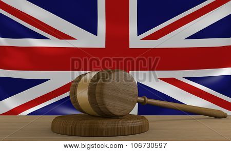 United Kingdom law and justice system with national flag
