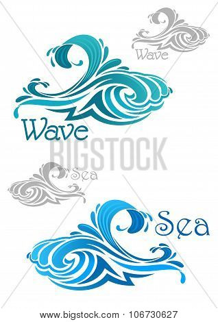Blue and teal ocean waves icons