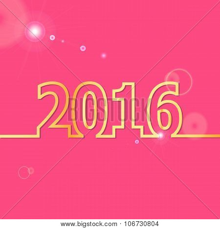 2016 Happy New Year On Pink Background