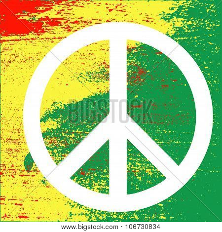 Peace symbolon Rastafarian colors of Jamaica.