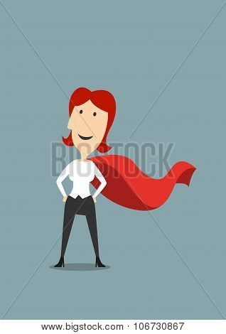 Businesswoman standing in hero red cape