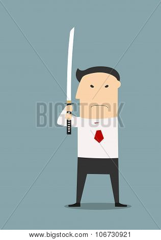 Serious businessman with katana sword