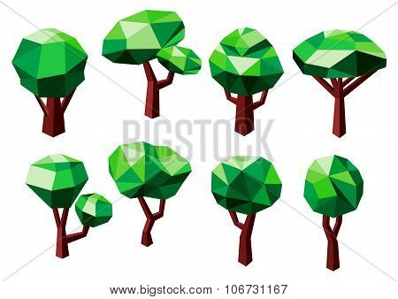 Polygonal trees icons with green foliage