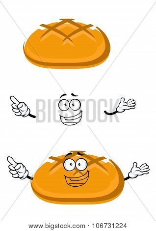 Cartoon isolated fresh wheat bread character