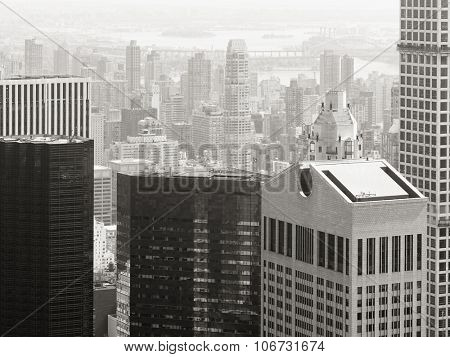 Black and white aerial view of skyscrapers and office buildings in midtown Manhattan